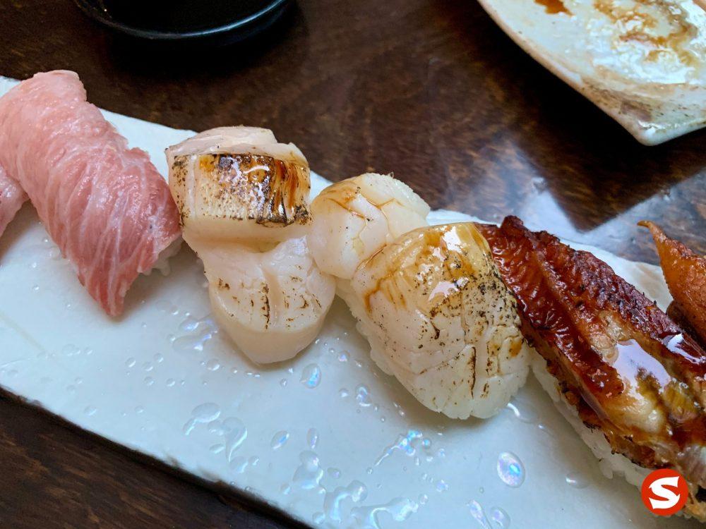 toro (fatty tuna belly), hotategai (scallop), unagi (freshwater eel) nigiri