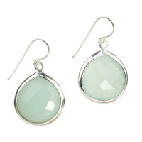 Candy Pear Earrings Silver Aqua Chalcedony