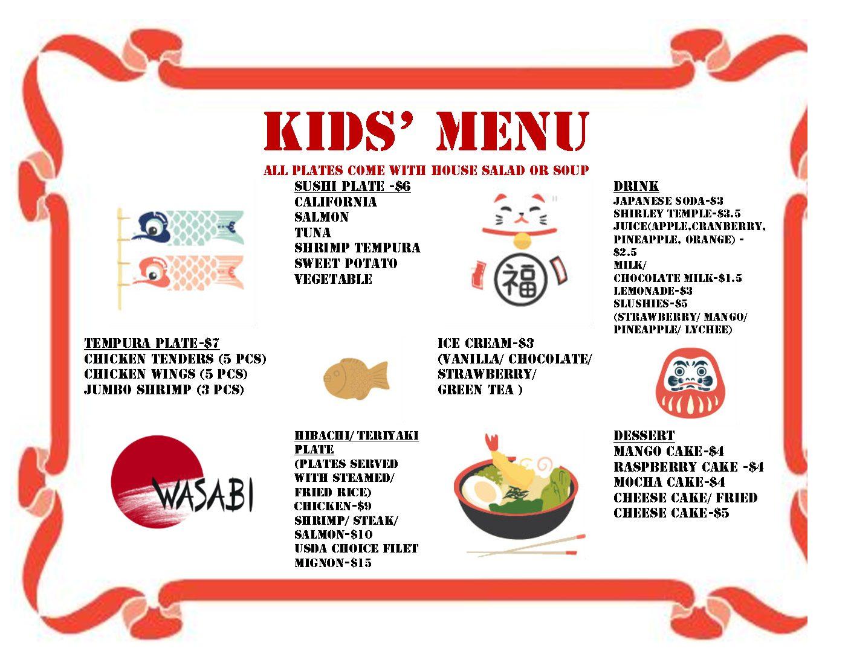 Children S Menu Wasabi Steakhouse