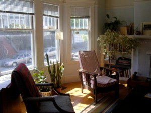 A living room. Where one could, say, sit in the sun and read poetry.