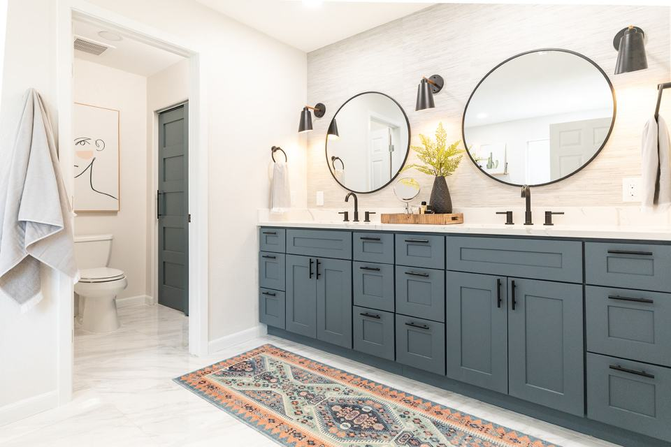 Newly remodeled bathroom  with double vanity