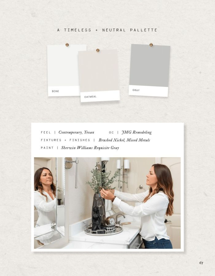 design board for bathroom with paint chips