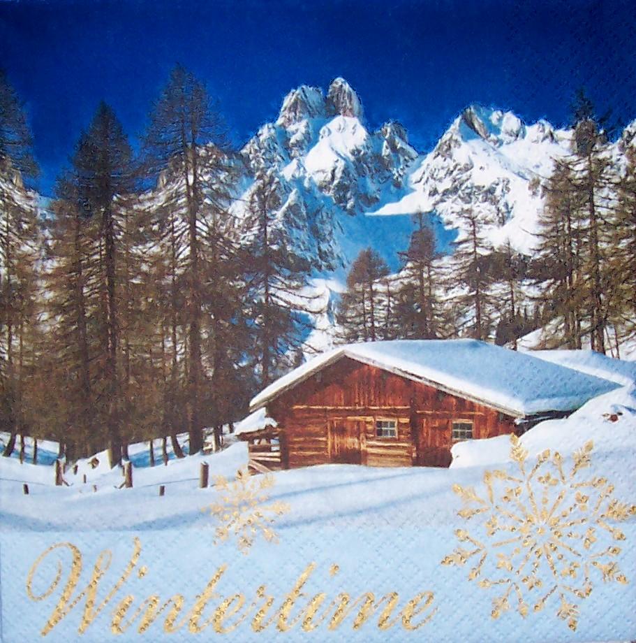 4433 Winterlandschaft Serviette  wwwsusipuppis