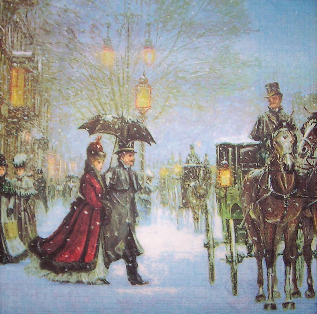 4483 Winterlandschaft Nostalgie Serviette  wwwsusipuppis
