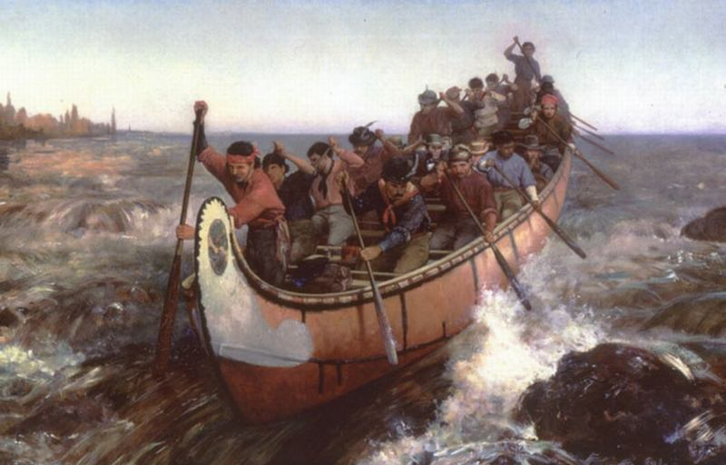 voyageur canoe and voyageurs
