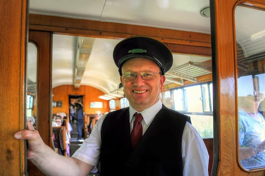 The guard on the Kent and East Sussex railway