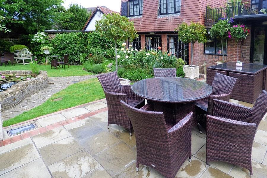 The garden of The Inglenook HOtel and Restaurant in Nyetimber, Bognor Regis, West Sussex