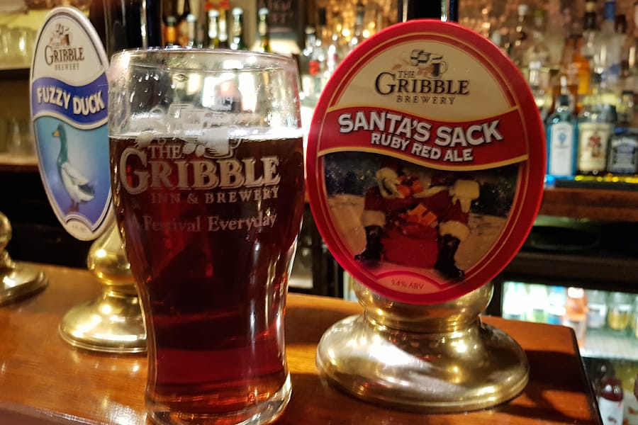 Great craft beer - a pint of Santa Sack at the Gribble Inn in Oving near Chichester, West Sussex