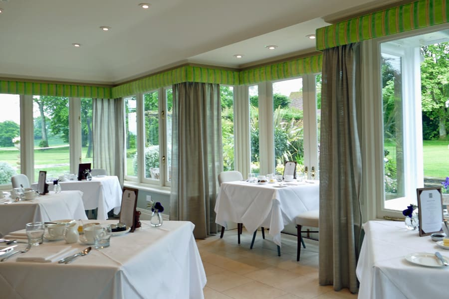 Dinning in the conservatory at Park House Hotell, Bepton, nr Midhurst, West Sussex