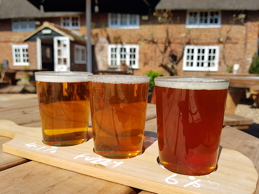 A beer flight at The Gribble