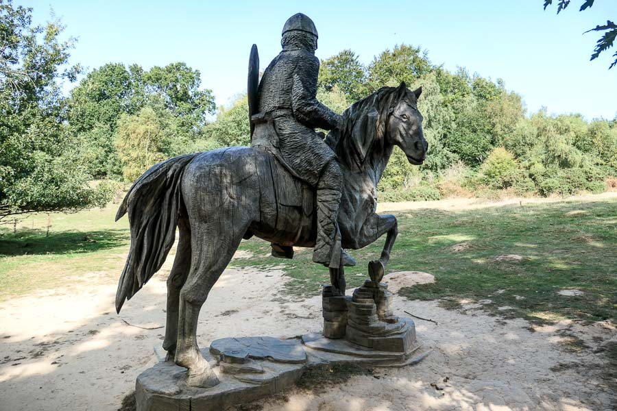Statue of knight in Battle Abbey grounds