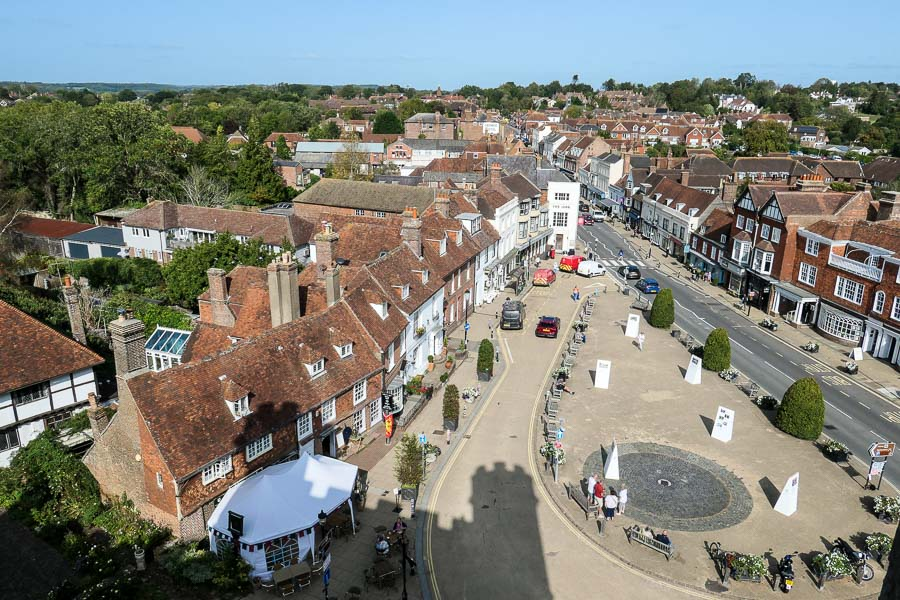 View of Battle high street from the Abbey