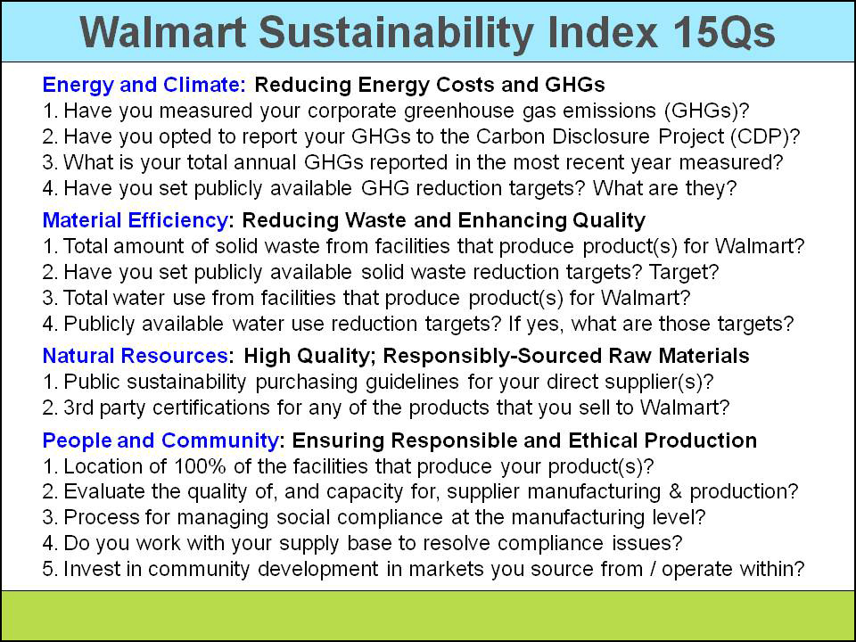 wal mart s internal and external stakeholders So many opportunities to make a difference workplace 18 38 compliance and sourcing 80 environment social 62  we engage with internal and external stakeholders, including government and ngos, to define the content included in  wal-mart stores, inc.