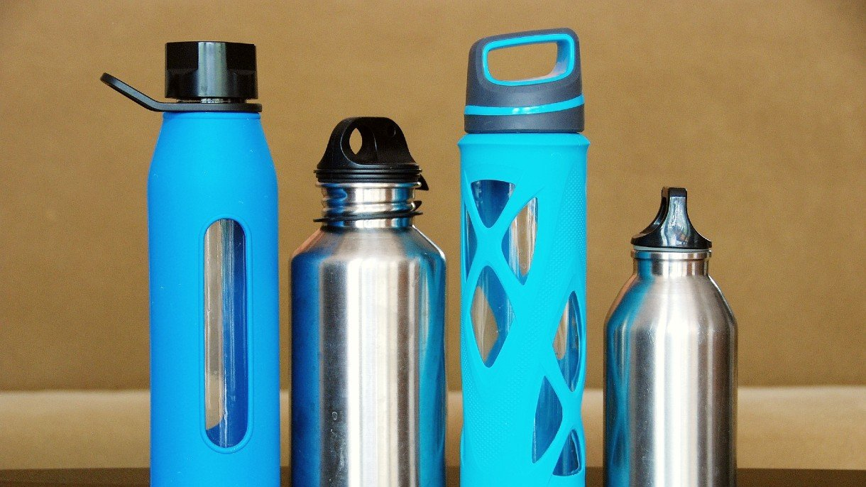 four different reusable water bottles
