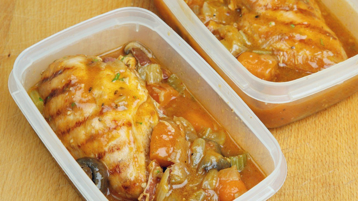 food in plastic Tupperware containers