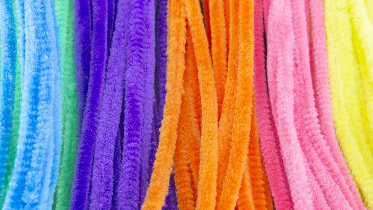 light blue, green, purple, orange, pink and yellow craft pipe cleaners