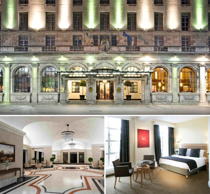 Three colour photographs of The Gresham Hotel. The top image displays the exterior of the hotel. The bottom images show the hotel foyer and a hotel bedroom
