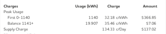 Extract from an electricity bill showing the different types of fees.