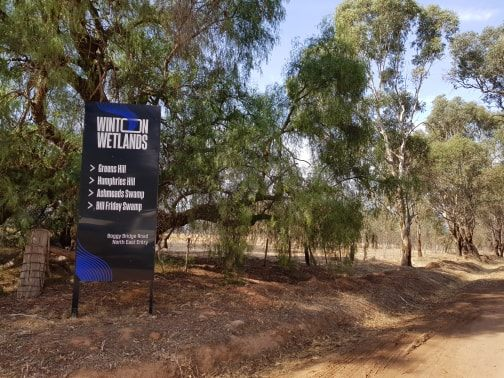 Entry sign to Winton Wetlands