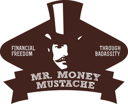 Mr Money Mustache logo. Aka Peter Adeney made his money via shares.
