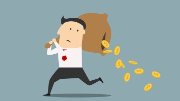 Cartoon of a man carrying a bag of money and the money is falling out of the bag. The image represents superannuation accounts being drained of money through fees.