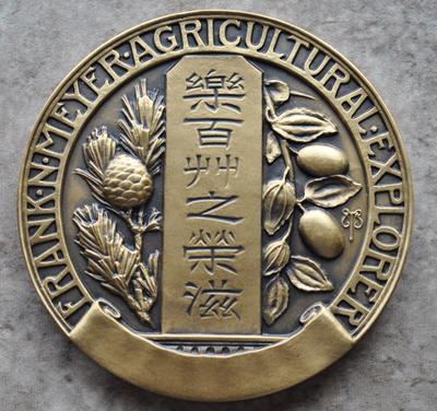 Gold colored medal with Frank N Meyer Agricultural Explorer engraving