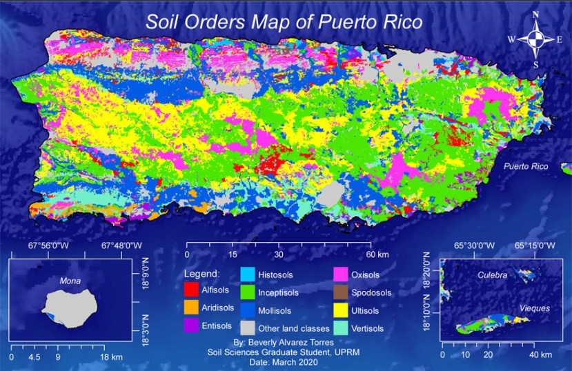 Colored map of puerto rico soils