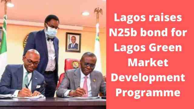Parties hold papers after signing Lagos green market development programme