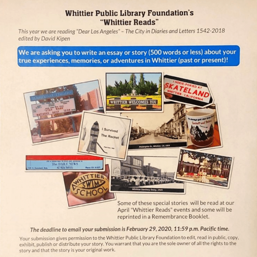 Your Whittier Story Could Be Featured in a Public Library Collection