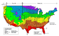 A colored map of the United States showing climate zones.