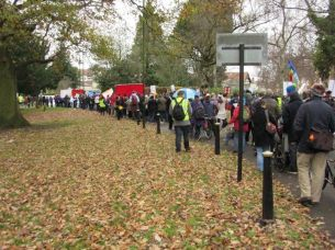 queue for Leicester March