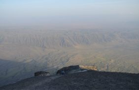 View of the Lake Natron Fault from Ol Doinyo Lengai