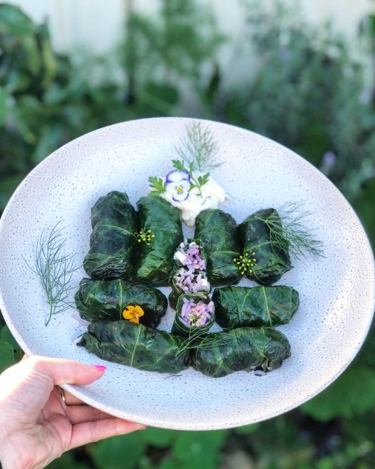 beetroot leaf dolmades