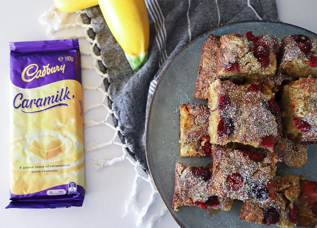 Caramilk and Raspberry Zucchini Brownies