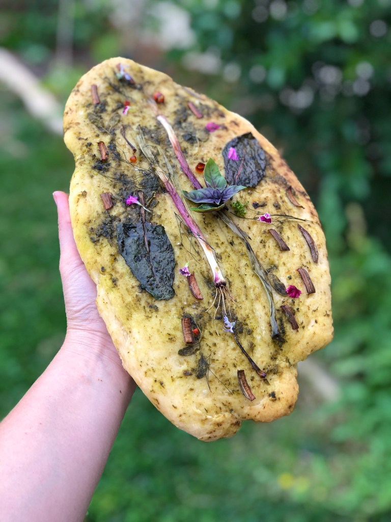 garden focaccia bread
