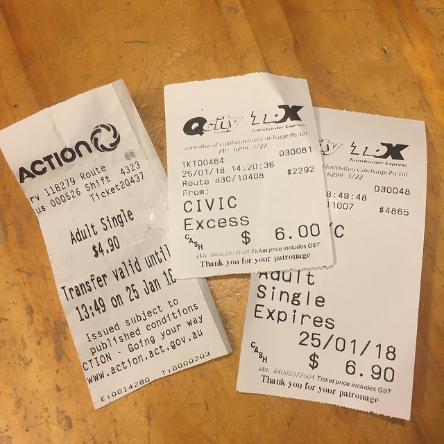 3 paper bus tickets