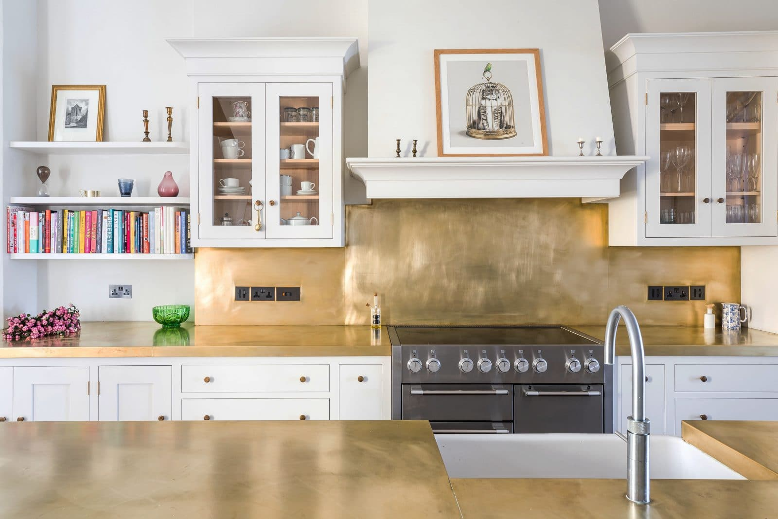 large kitchen island with seating and storage cabinets atlanta white shaker brass - sustainable kitchens