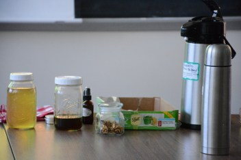 """Some of the examples used in Tina Hope's presentation on """"Bioremedial Herbs."""" (Photo courtesy of Mitch Prentice.)"""