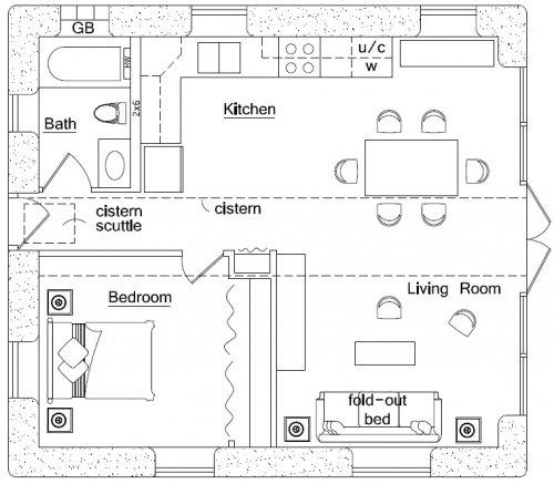 Earthbag beach house floor plan