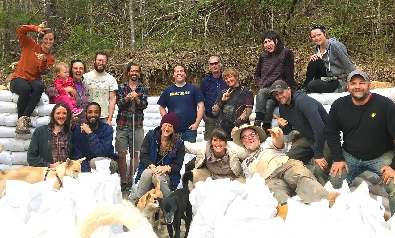 Sustainable Life School's Earthbag Tiny House Class of April 2021.