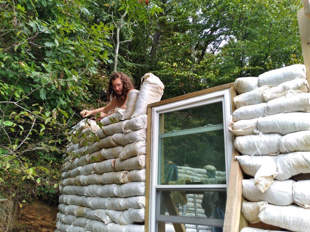 Taking Apart Earthbag Wall
