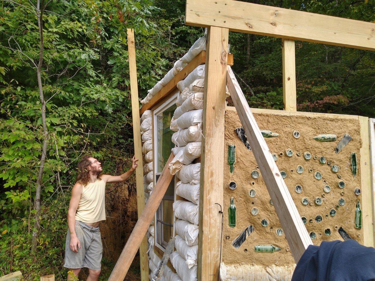 Leaning Earthbag Wall