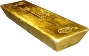 Gold Bar on White