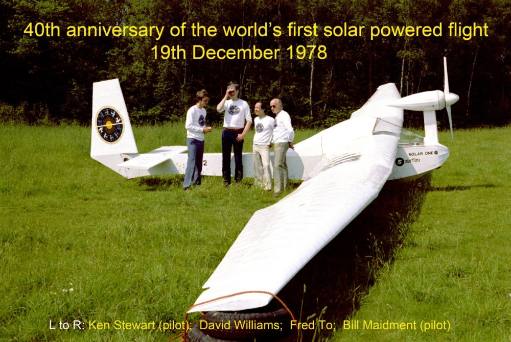 medium resolution of flanked by pilots ken stewart left and bill maidment right david williams and fred to display their successful solar aircraft