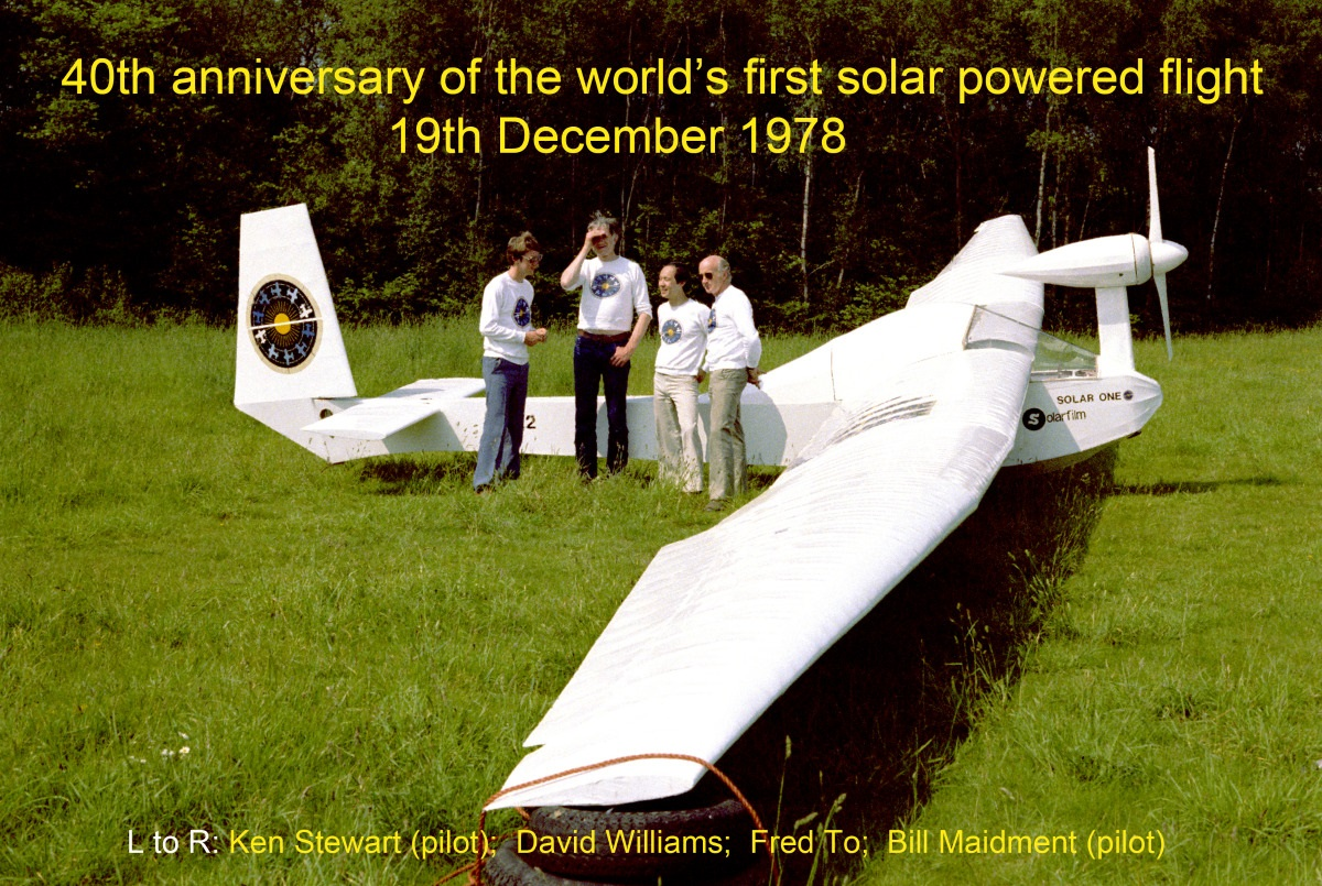 hight resolution of flanked by pilots ken stewart left and bill maidment right david williams and fred to display their successful solar aircraft