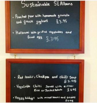 Cafe on the Corner sustianable vegetarian menu all week