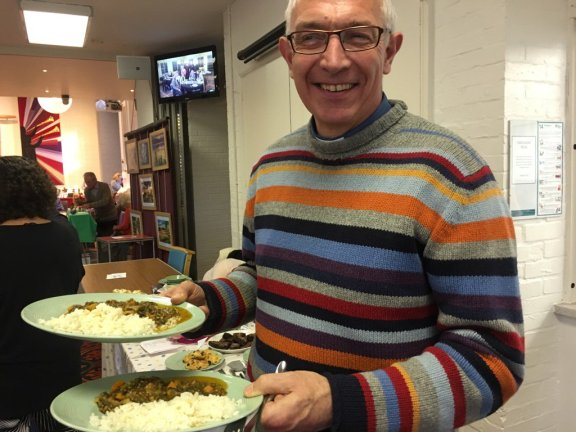 The Rev'd Mark with sustainable lunch