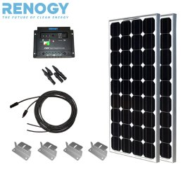 DIY solar panel kit 200W 2pc 100W Solar Panels+10' Solar cable+PWM 30A Charge Controller+2 Sets Z Brackets+MC4 Branch Connectors Pair