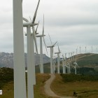 Wind turbines expanding along a ridge in Galicia, Spain