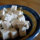 a plate of cubed feta